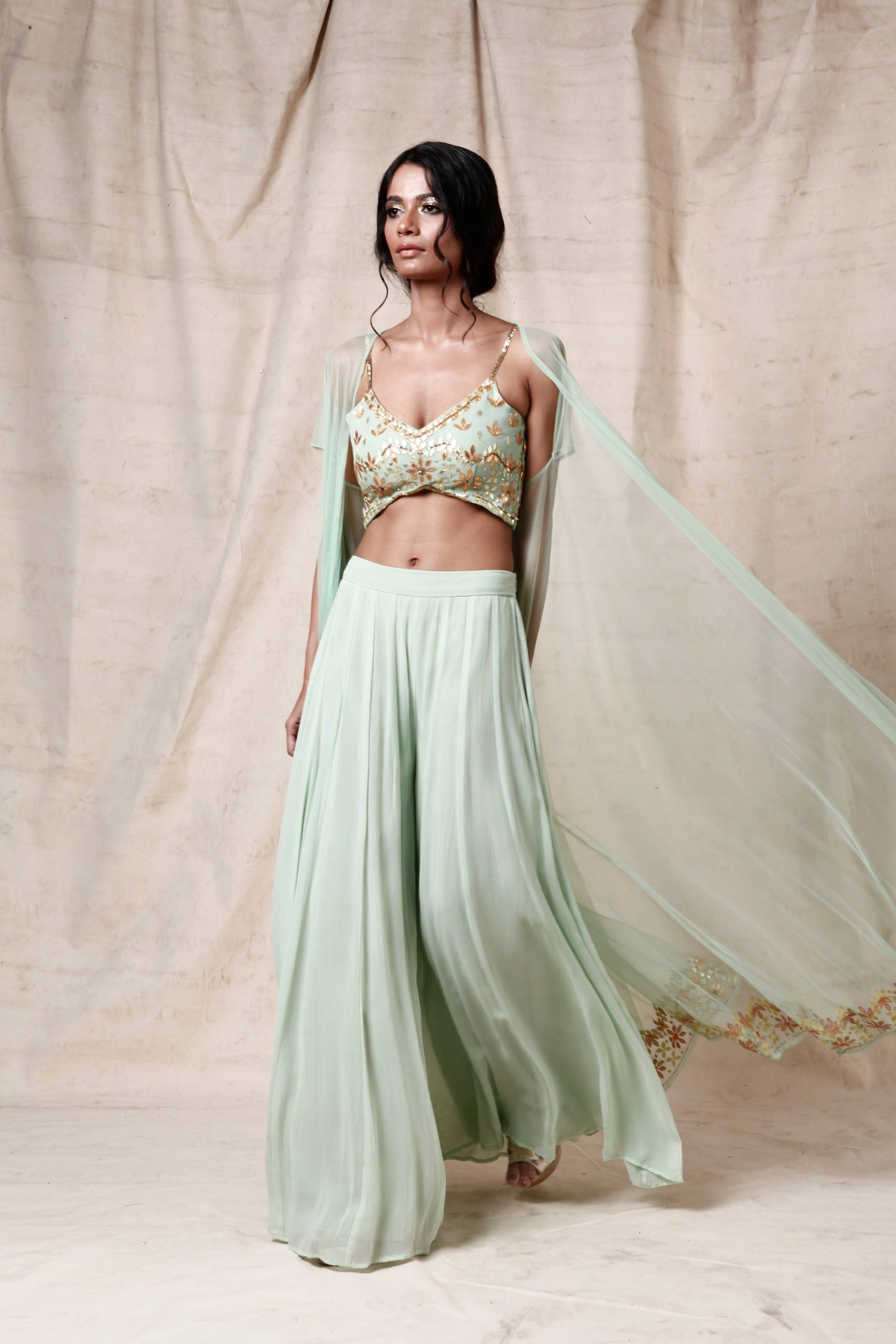 Mint green  cape set - The Grand Trunk