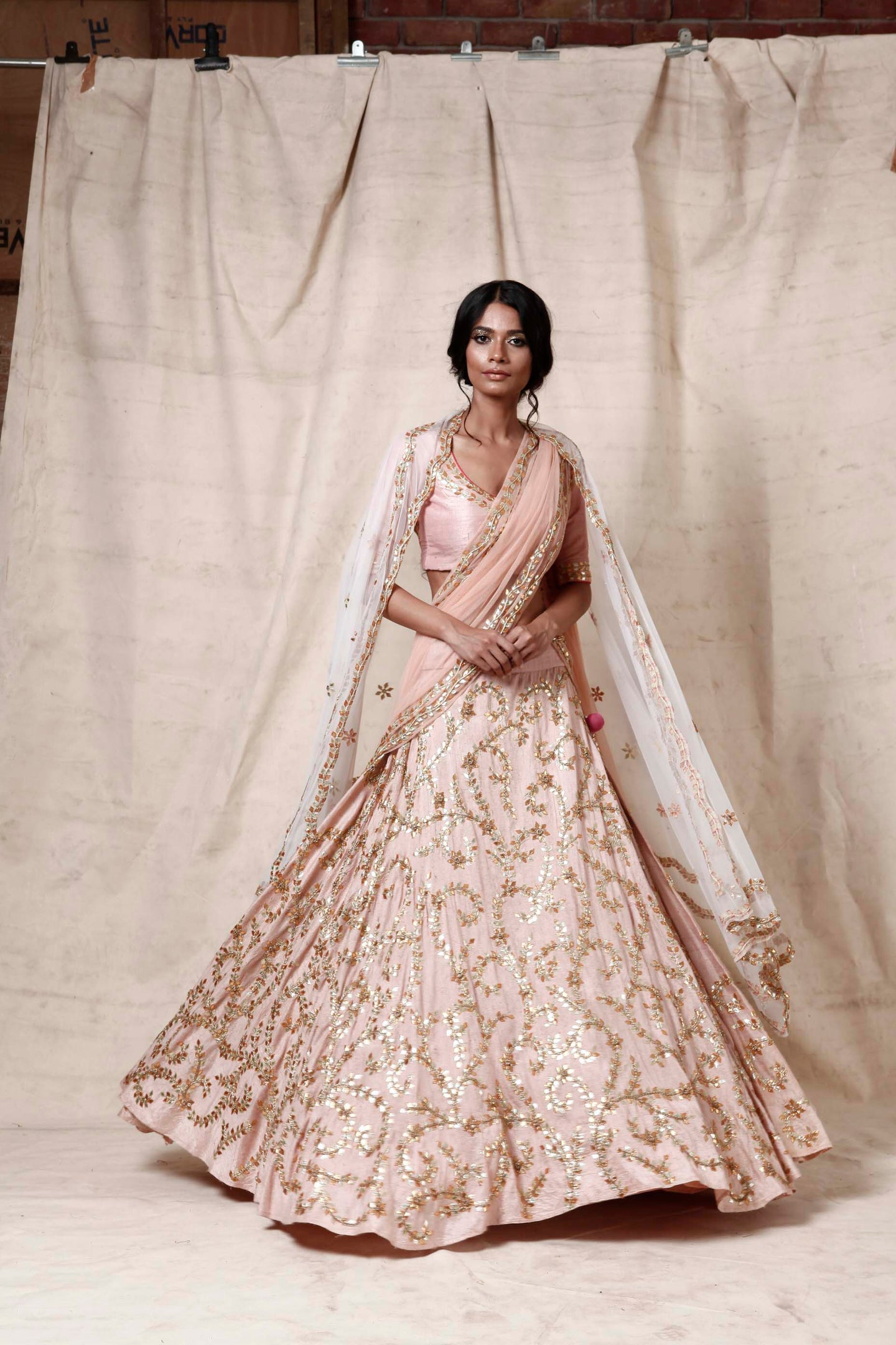Baby pink lengha  set - The Grand Trunk