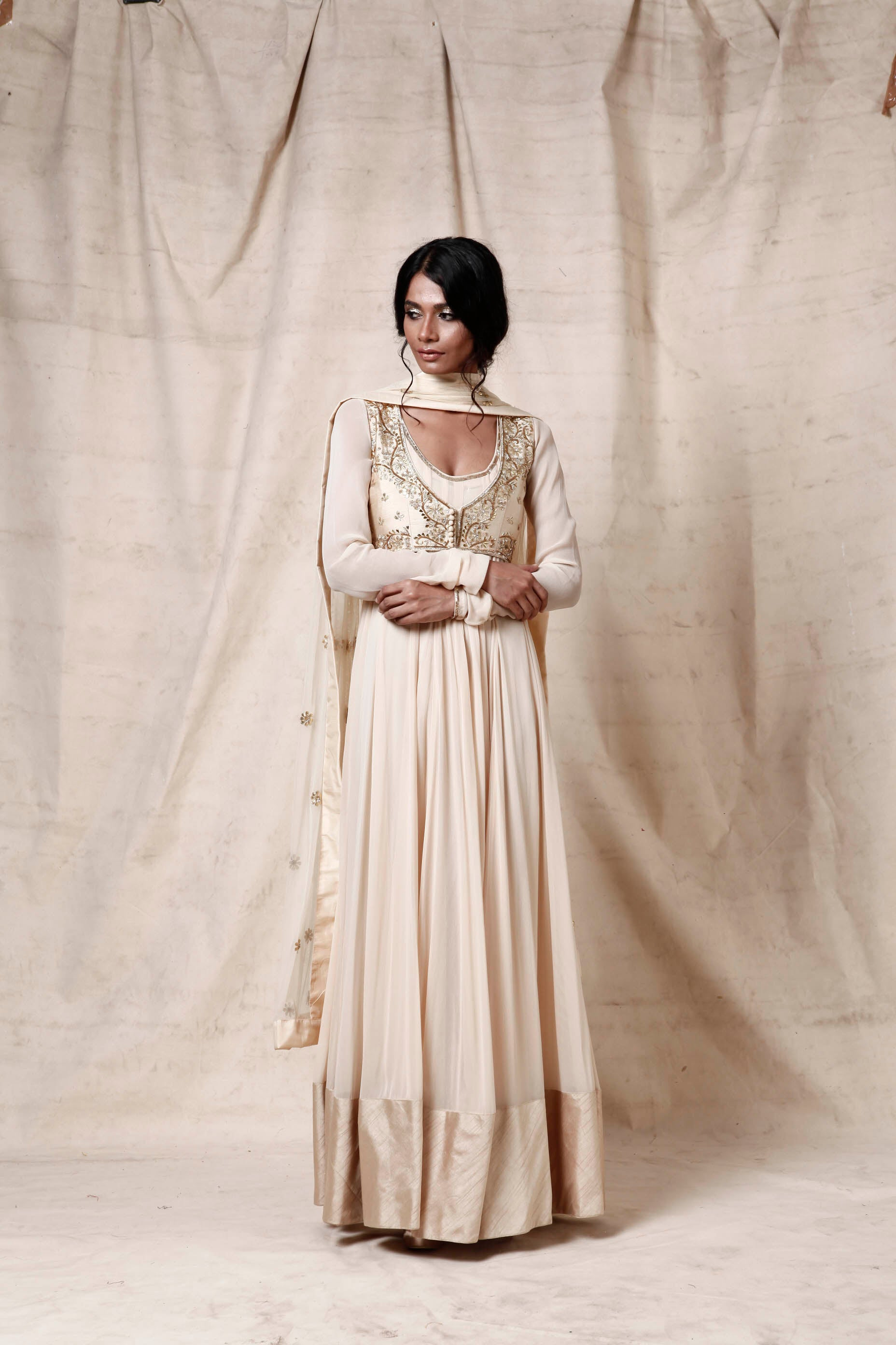 Cream anakali with jacket set - The Grand Trunk