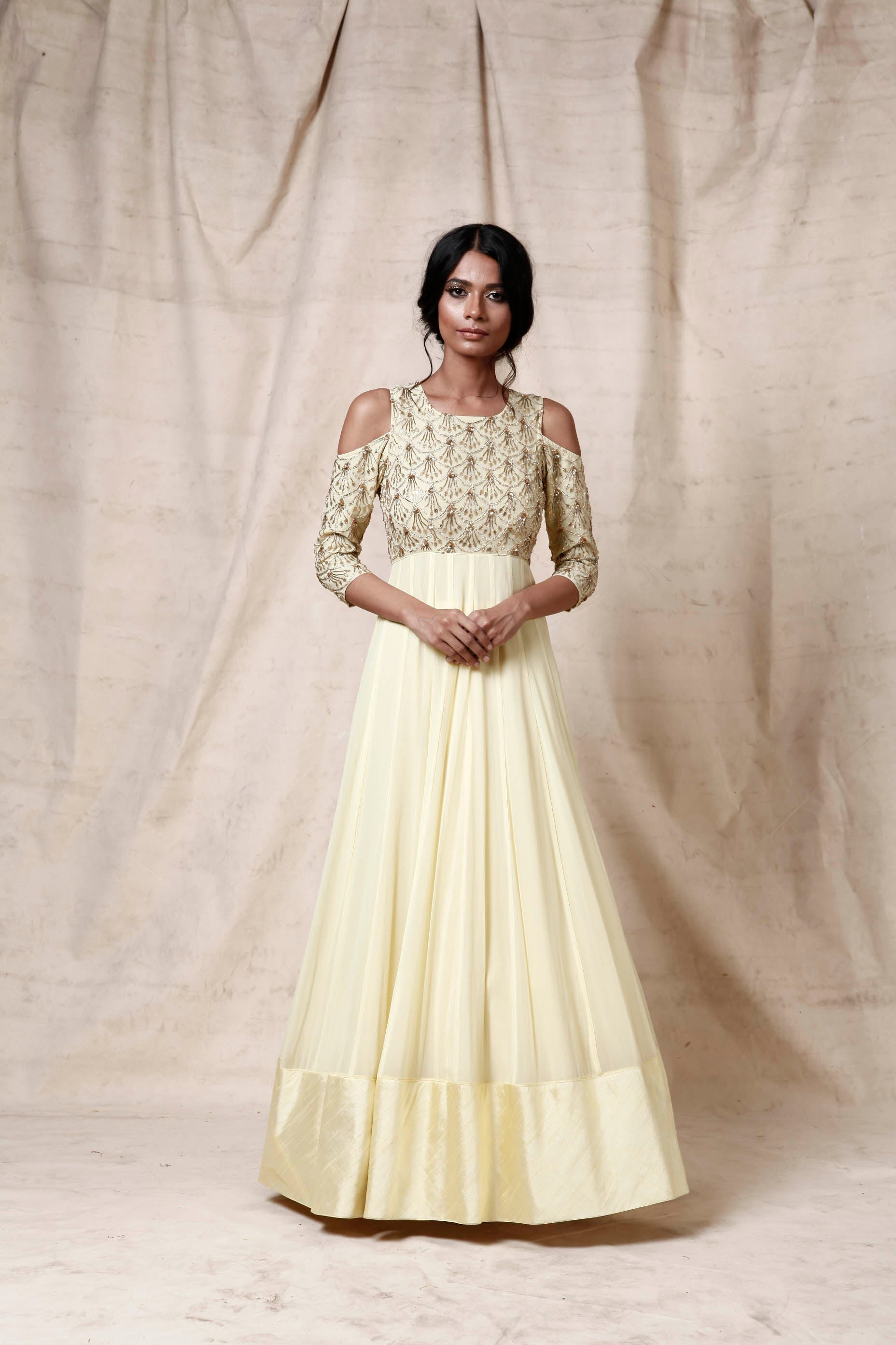 Light yellow anarkali - The Grand Trunk