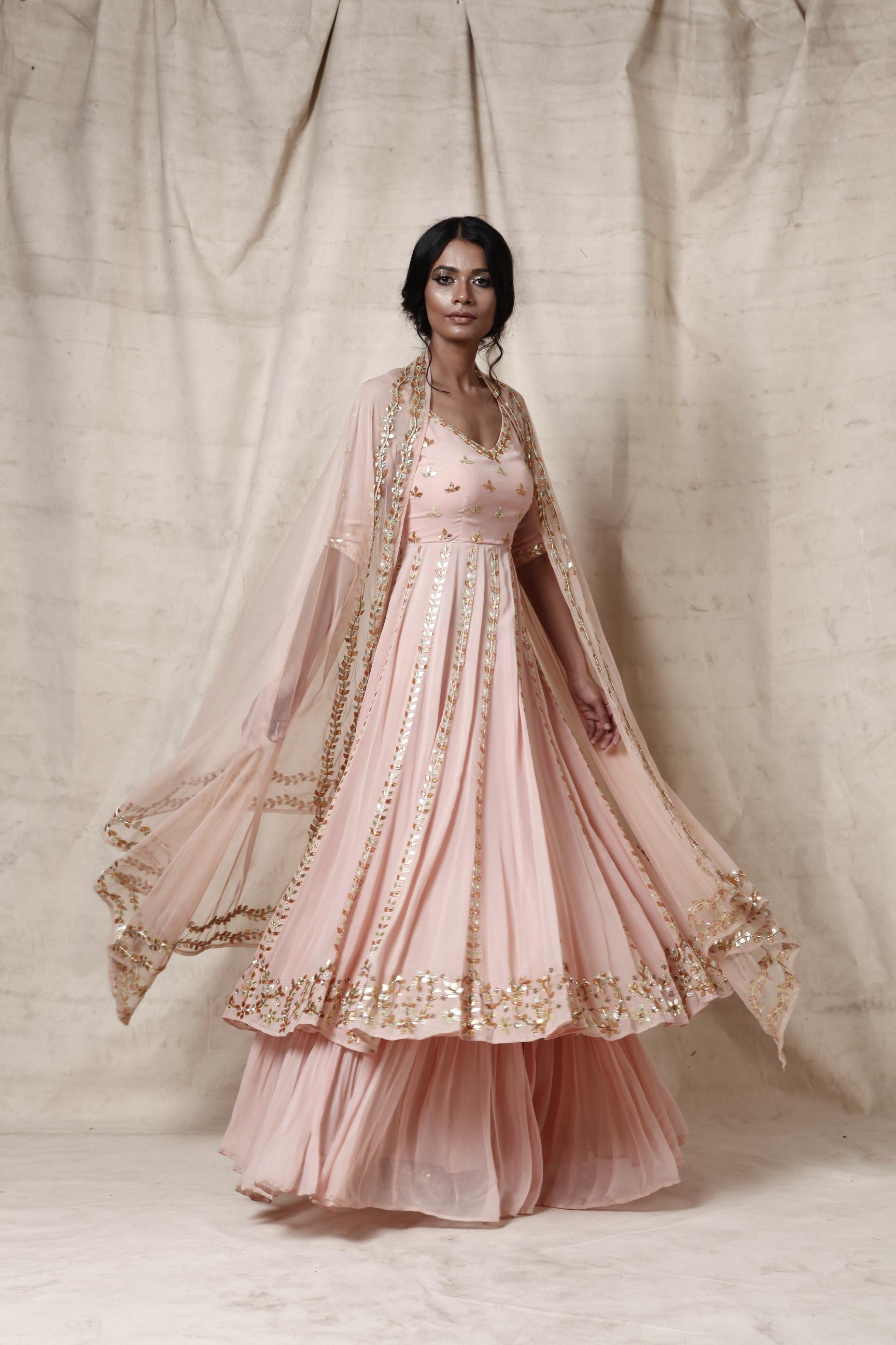 Baby pink anarkali  sharara  set - The Grand Trunk