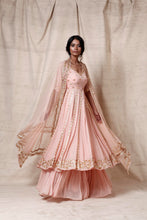 Load image into Gallery viewer, Baby pink anarkali  sharara  set - The Grand Trunk