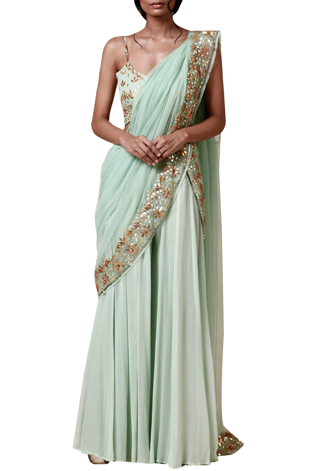 Mint green  dupatta & plazzo  set - The Grand Trunk