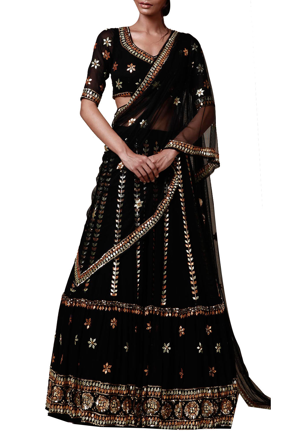 Black  lengha set - The Grand Trunk