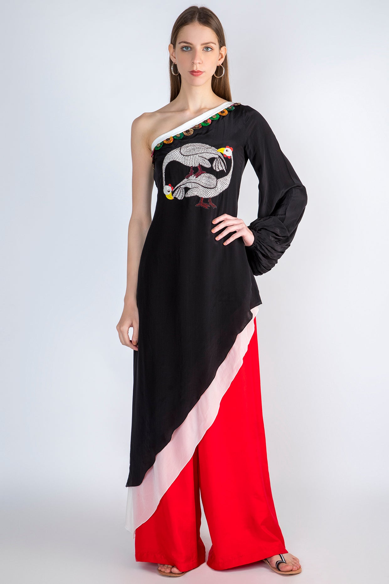 BLACK COSMIC FLOCK PRINTED ONE SHOULDER TUNIC & RED PANTS - The Grand Trunk
