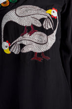 Load image into Gallery viewer, BLACK COSMIC FLOCK PRINTED ONE SHOULDER TUNIC & RED PANTS - The Grand Trunk