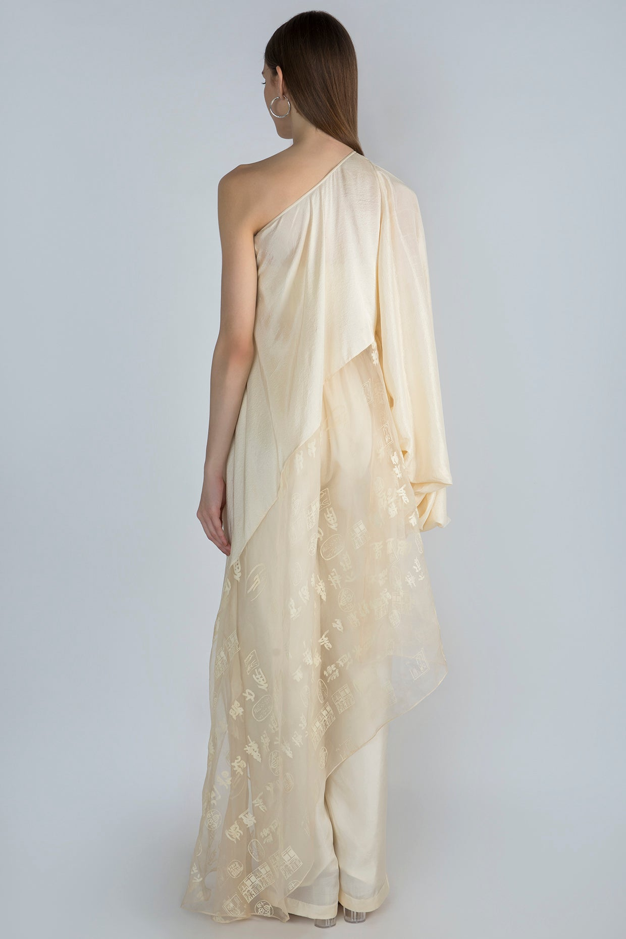 IVORY MANUSCRIPT PRINT ORGANZA & PEARL EMBROIDERED CREPE ONE SHOULDER TUNIC & IVORY PANTS - The Grand Trunk