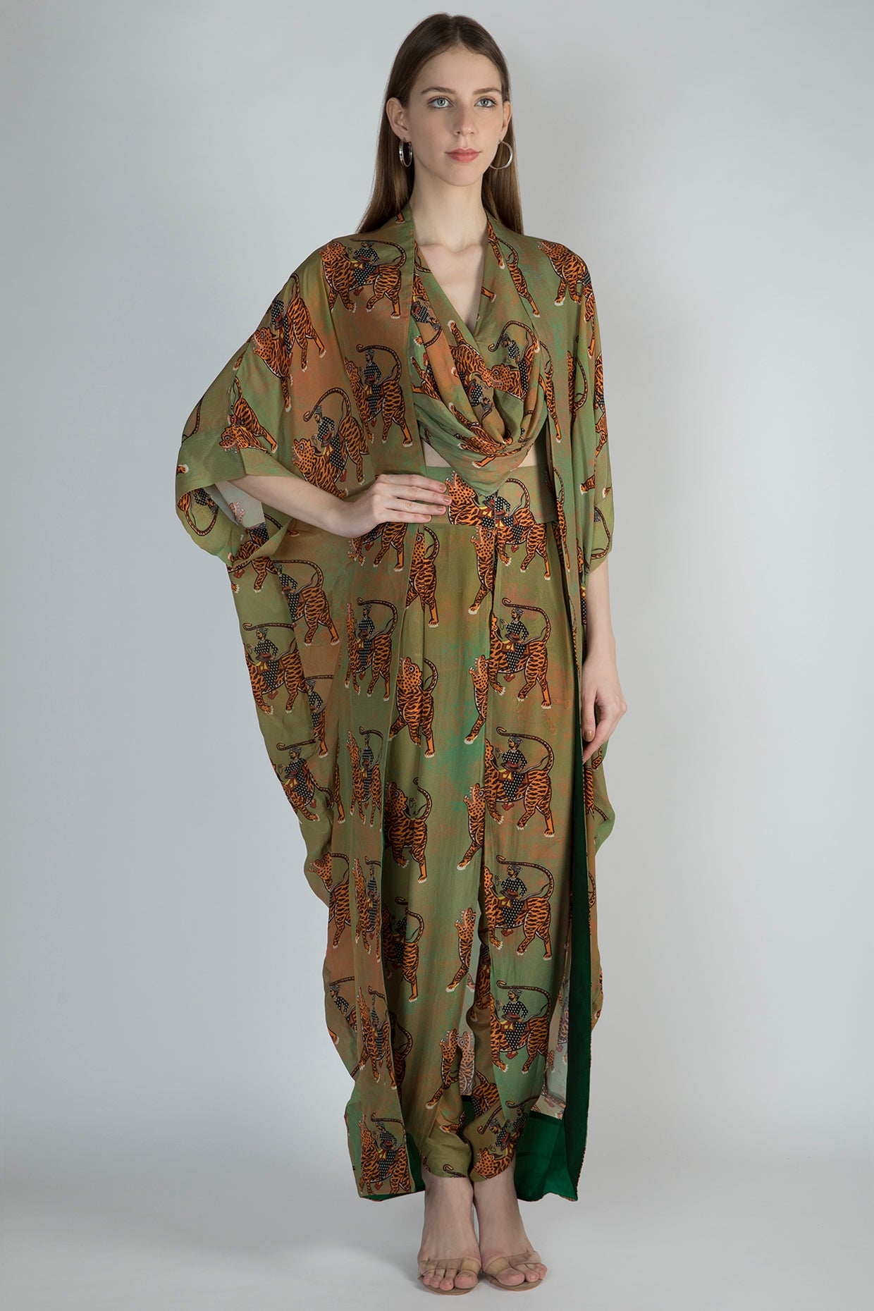 MINT SULTAN PRINT COWL TOP AND DHOTI WITH CAPE - The Grand Trunk