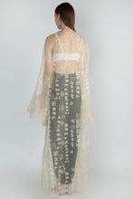 Load image into Gallery viewer, IVORY MANUSCRIPT PRINT ORGNAZA CAPE WITH EMBELLISHED DHOTI & PEARL BUSTIER - The Grand Trunk