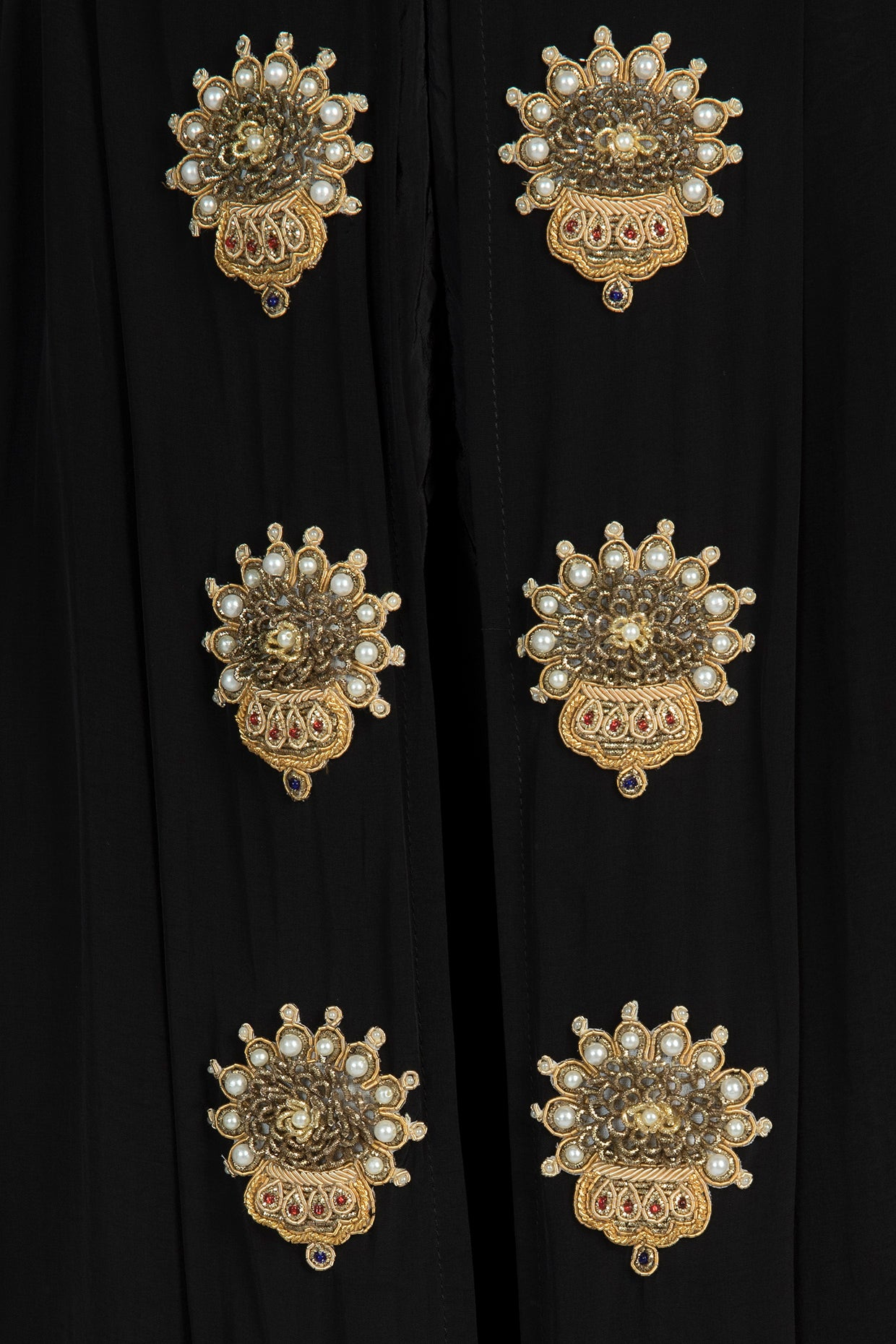 IVORY MANUSCRIPT PRINT ORGNAZA CAPE WITH EMBELLISHED DHOTI & PEARL BUSTIER - The Grand Trunk