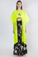 Load image into Gallery viewer, NEON HI LOW CROP TOP & IVORY GRAZING COW PANTS - The Grand Trunk