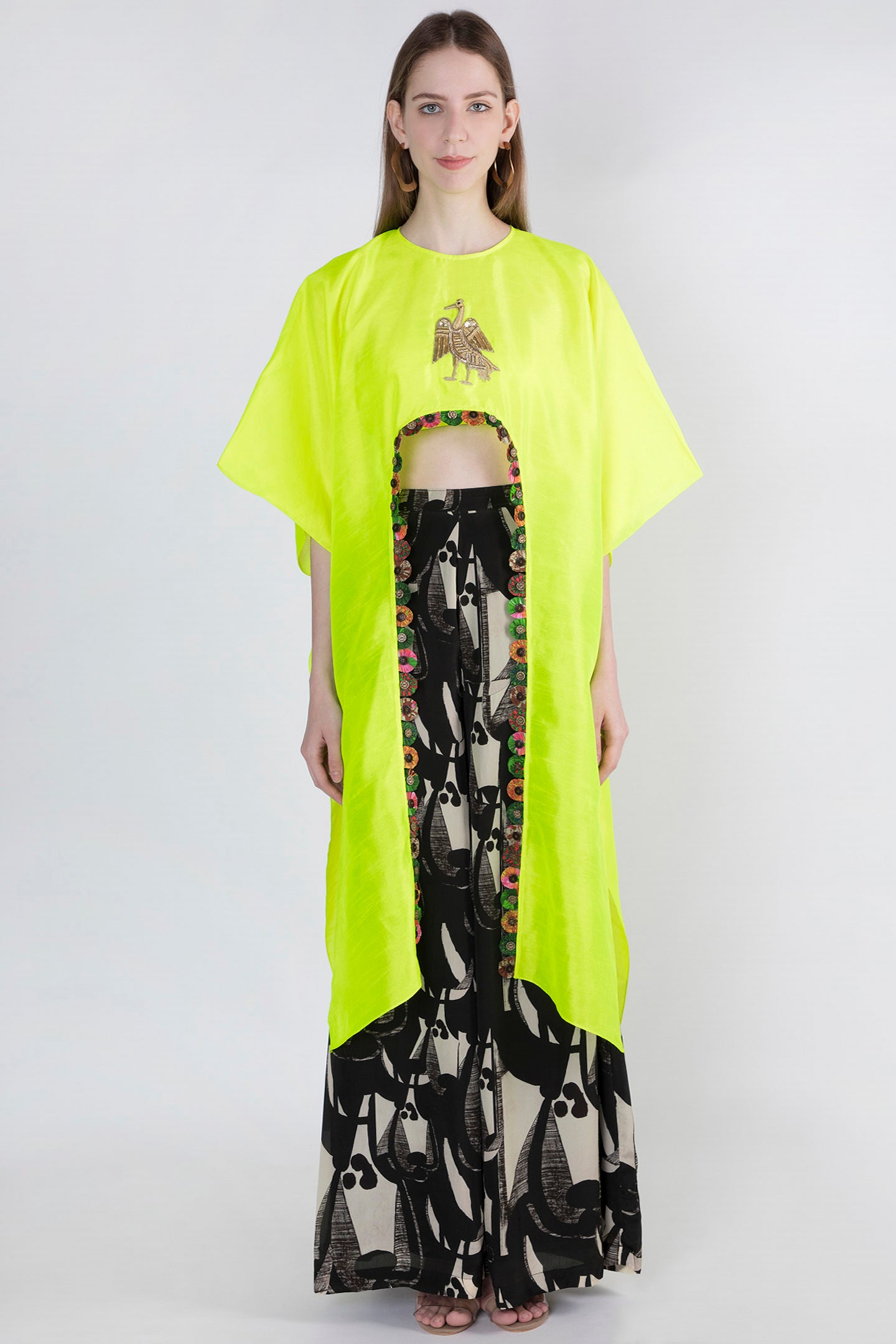 NEON HI LOW CROP TOP & IVORY GRAZING COW PANTS - The Grand Trunk