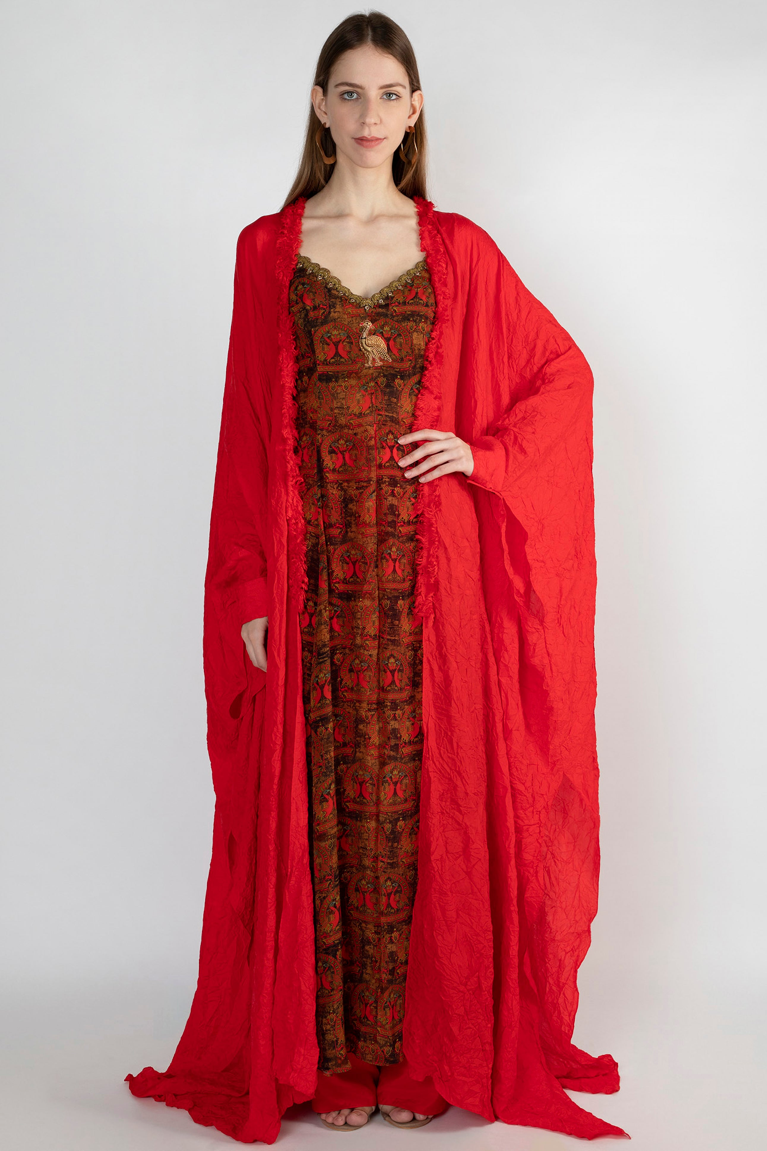 RED A ROYAL AFFAIR HIGH SLIT TUNIC WITH RED CRUSH CAPE AND PANTS - The Grand Trunk