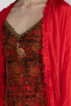 Load image into Gallery viewer, RED A ROYAL AFFAIR HIGH SLIT TUNIC WITH RED CRUSH CAPE AND PANTS - The Grand Trunk