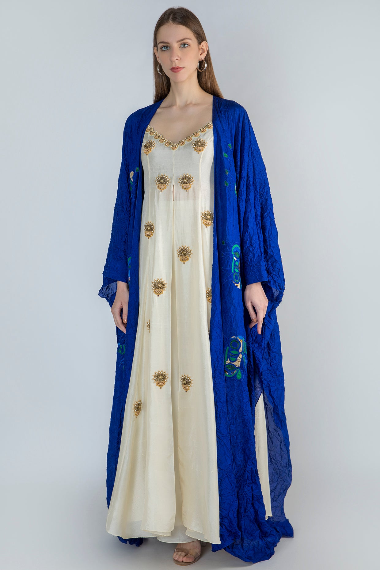 IVORY HIGH SLIT TUNIC WITH BLUE CRUSH CAPE AND IVORY PANTS - The Grand Trunk