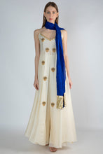 Load image into Gallery viewer, IVORY HIGH SLIT TUNIC WITH BLUE CRUSH DUPATTA AND IVORY PANTS - The Grand Trunk