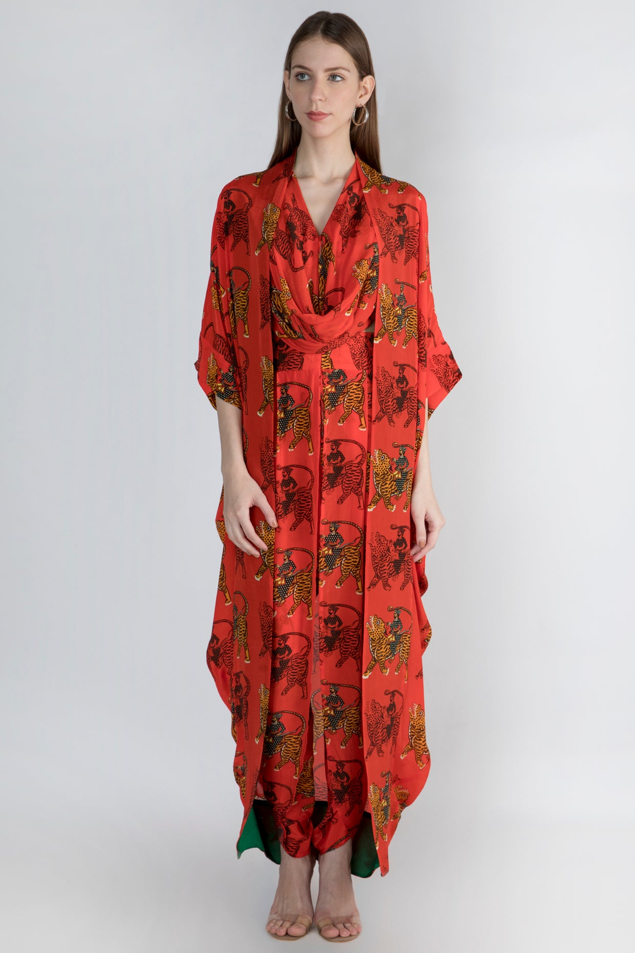 RED SULTAN PRINT COWL TOP ANDDHOTI WITH CAPE - The Grand Trunk