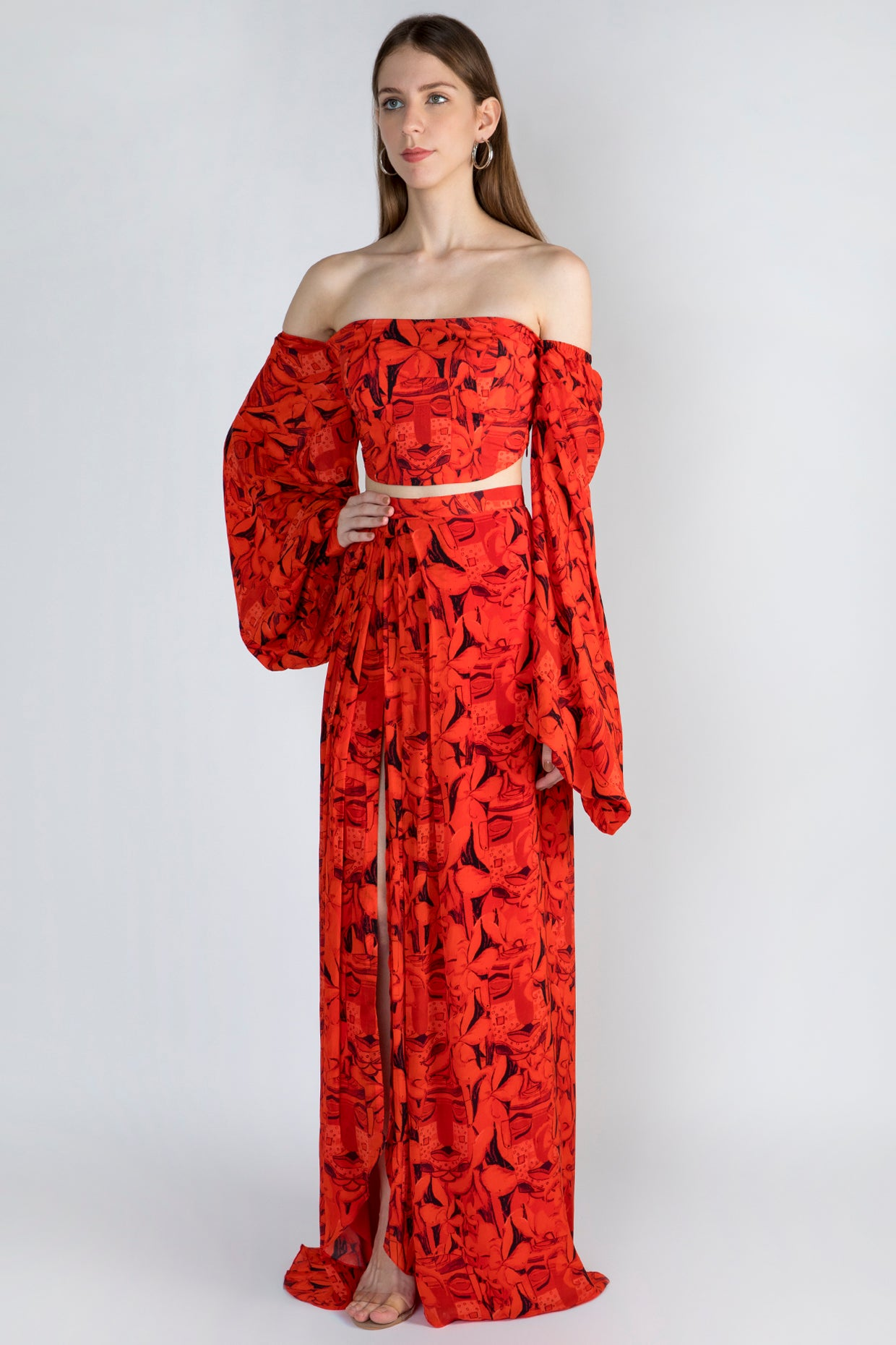 red leaf print top & skirt set - The Grand Trunk