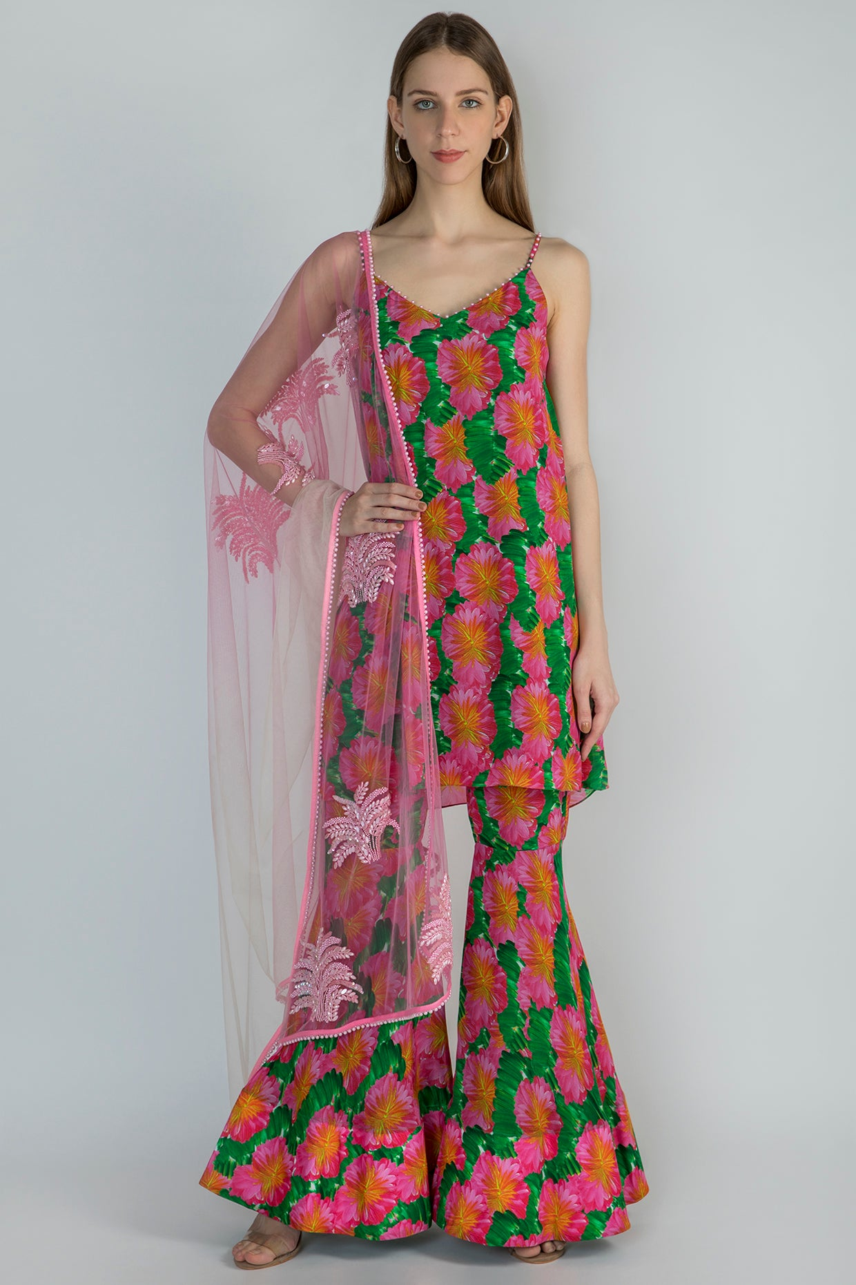 PINK SAVANNAH TUNIC & SHARARA WITH OMBRE NET PEARL EMB DUPATTA - The Grand Trunk