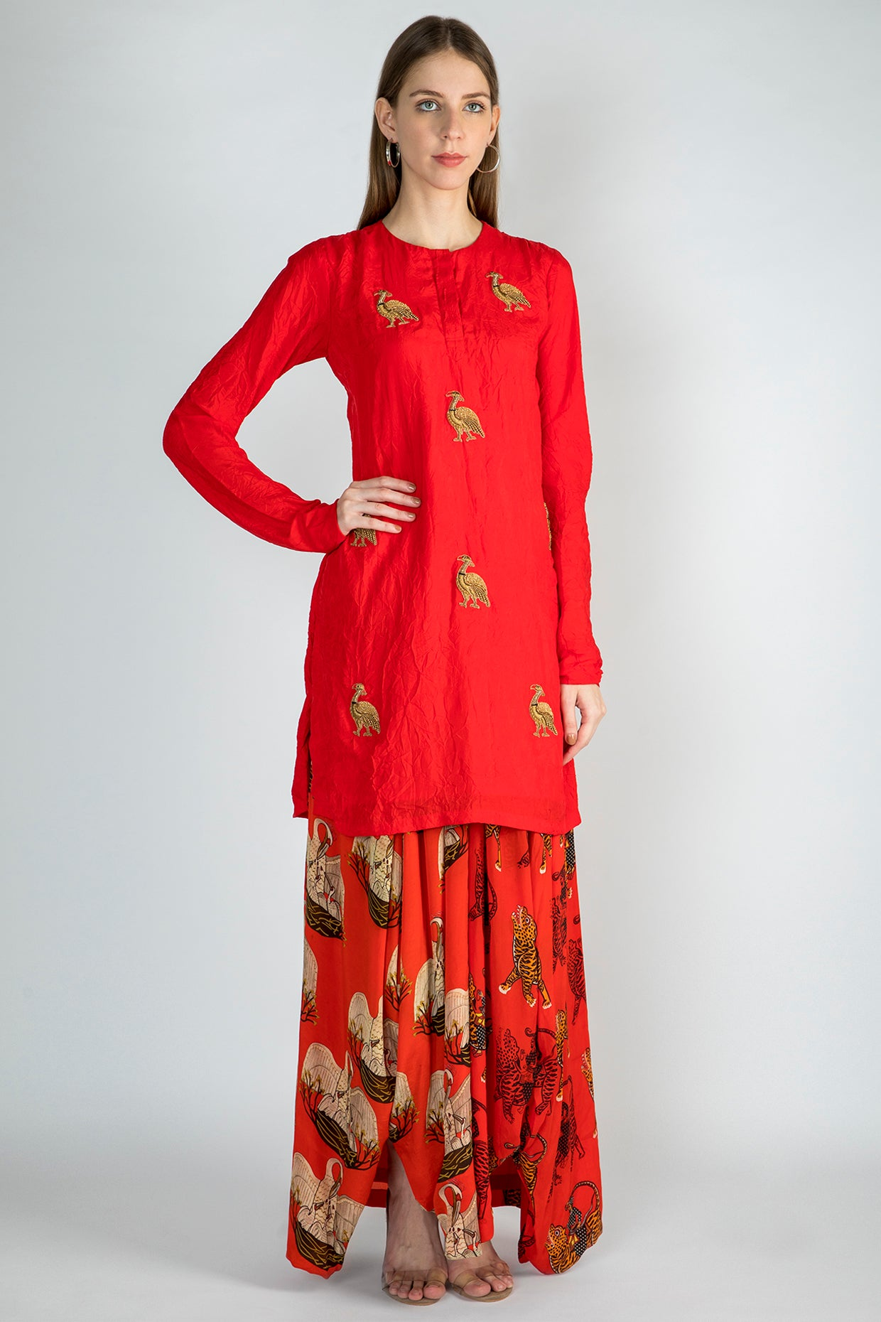 RED CRUSH EMBROIDERED TUNIC WITH RED SULTAN AND TEMPLE SWAN DRAPE SKIRT - The Grand Trunk