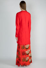 Load image into Gallery viewer, RED CRUSH EMBROIDERED TUNIC WITH RED SULTAN AND TEMPLE SWAN DRAPE SKIRT - The Grand Trunk