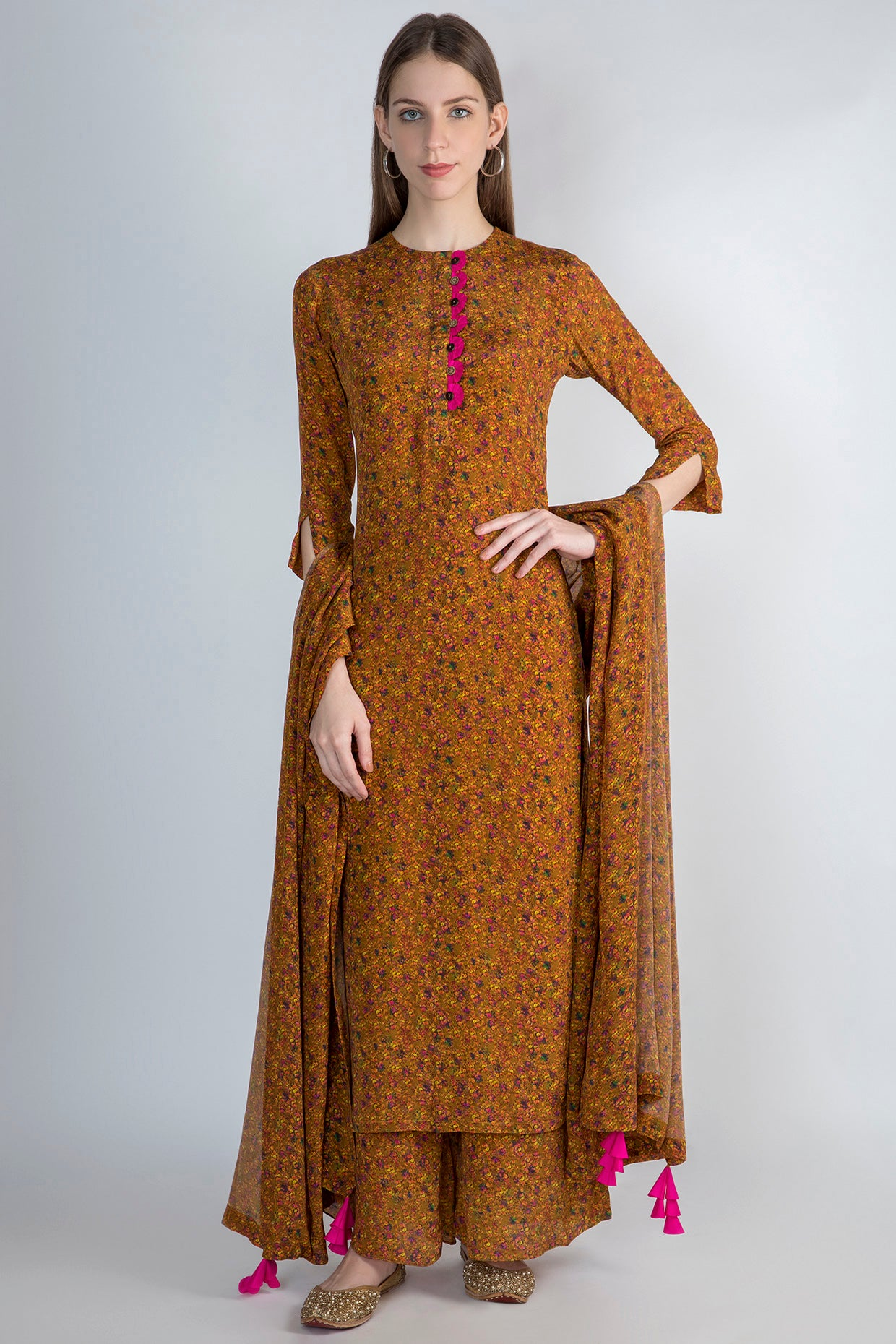 MUSTARD FLORAL RUSH KURTA, PALAZZO AND DUPATTA - The Grand Trunk