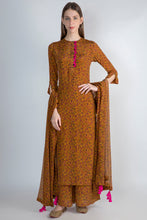 Load image into Gallery viewer, MUSTARD FLORAL RUSH KURTA, PALAZZO AND DUPATTA - The Grand Trunk