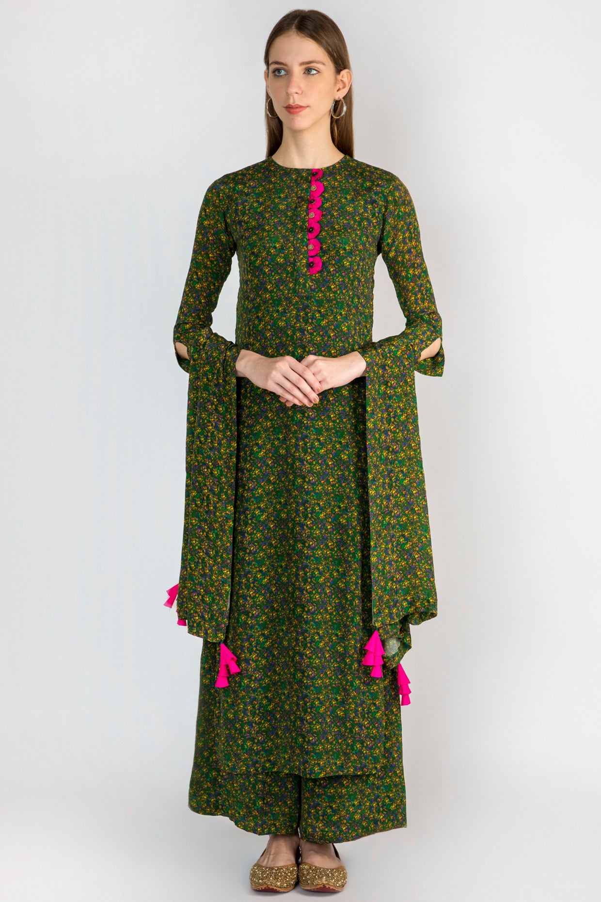 EMERALD FLORAL RUSH KURTA, PALAZZO AND DUPATTA - The Grand Trunk