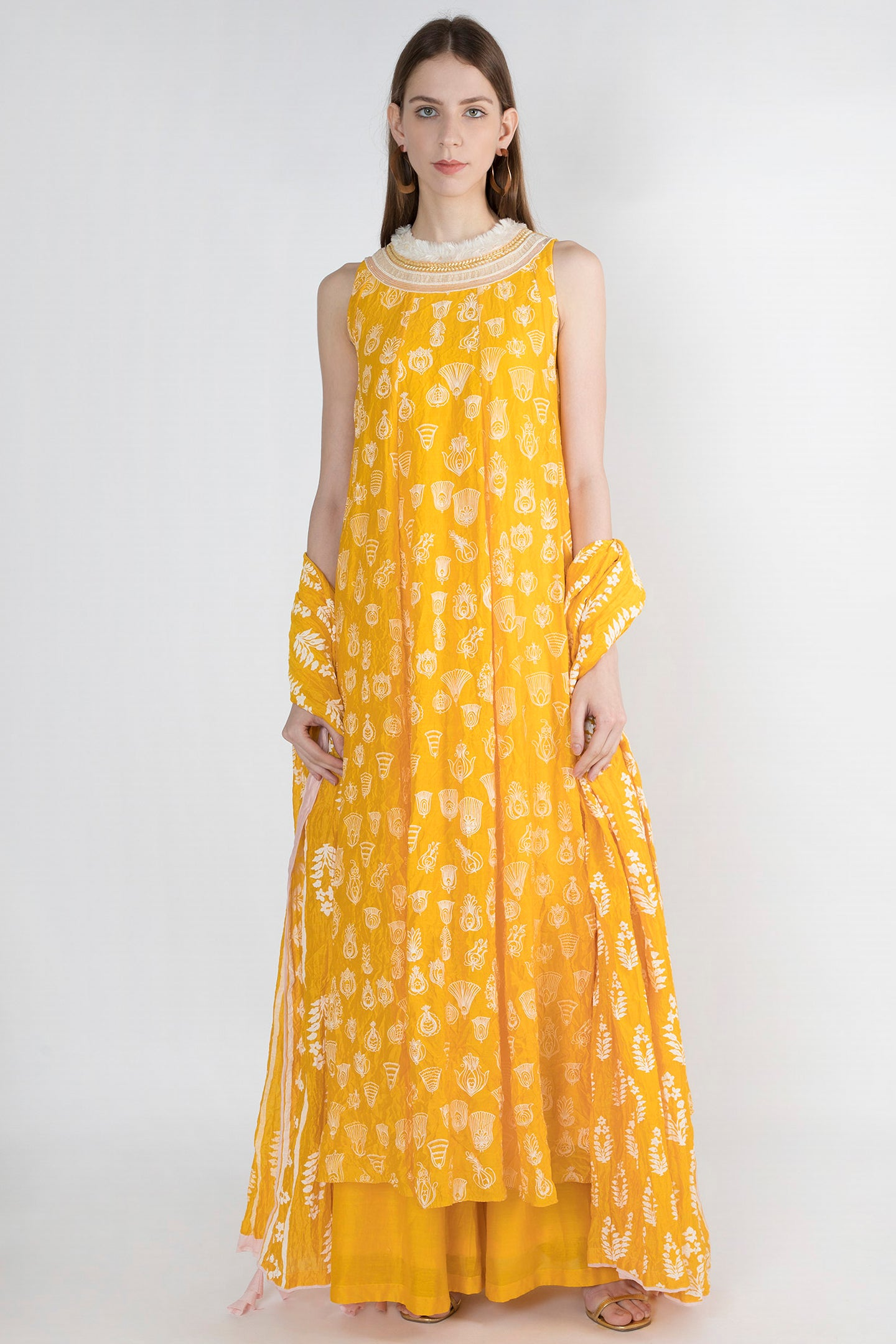 Masaba Gupta Yellow Gulshan Print Anarkali Set - The Grand Trunk