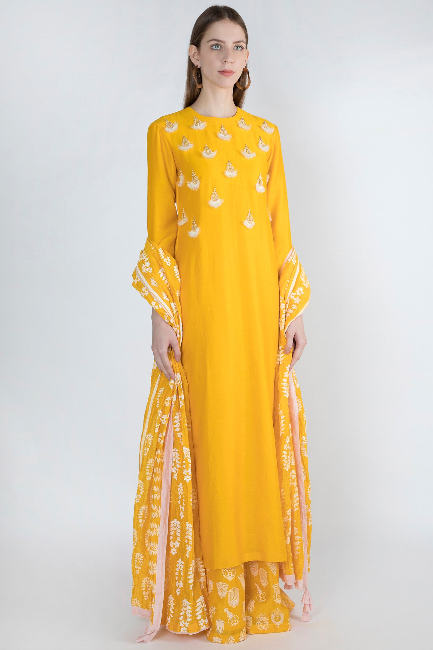 Masaba Yellow Chanderi Embroidered Kurta set - The Grand Trunk