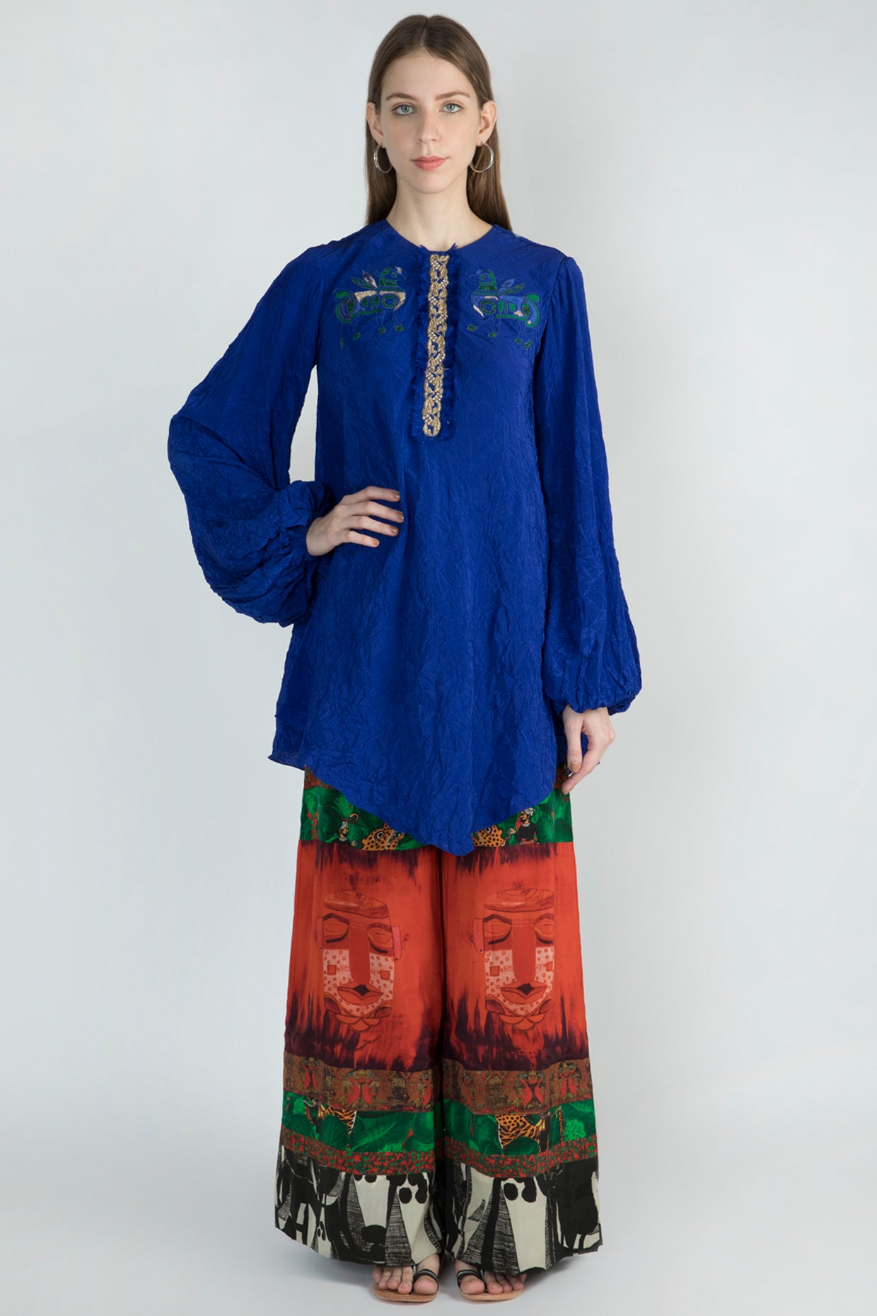 blue kurta with multipanel printed pachwork pants - The Grand Trunk