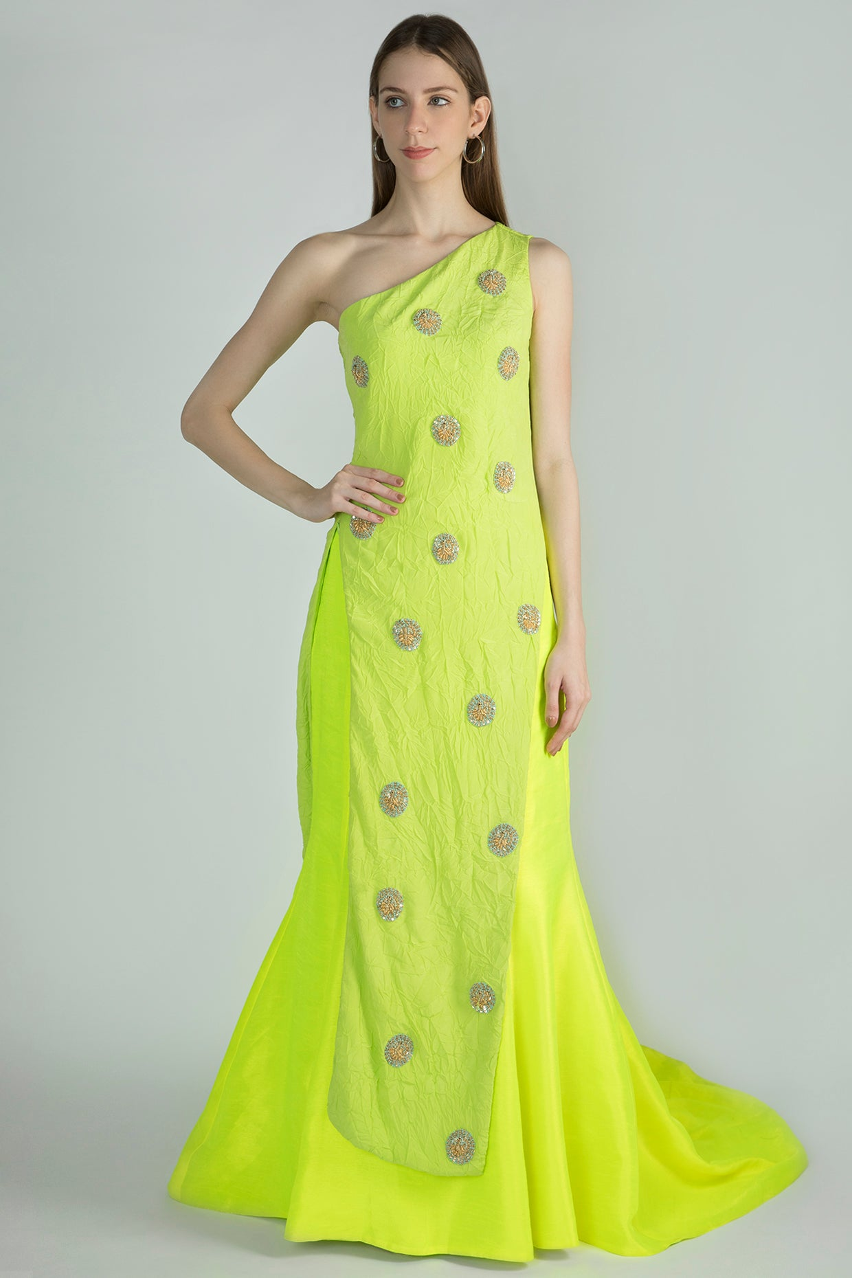 GREEN CRUSH ONE SHOULDER ASYMMETRIC EMBROIDERED TOP & NEON LEHENGA - The Grand Trunk