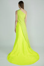 Load image into Gallery viewer, GREEN CRUSH ONE SHOULDER ASYMMETRIC EMBROIDERED TOP & NEON LEHENGA - The Grand Trunk