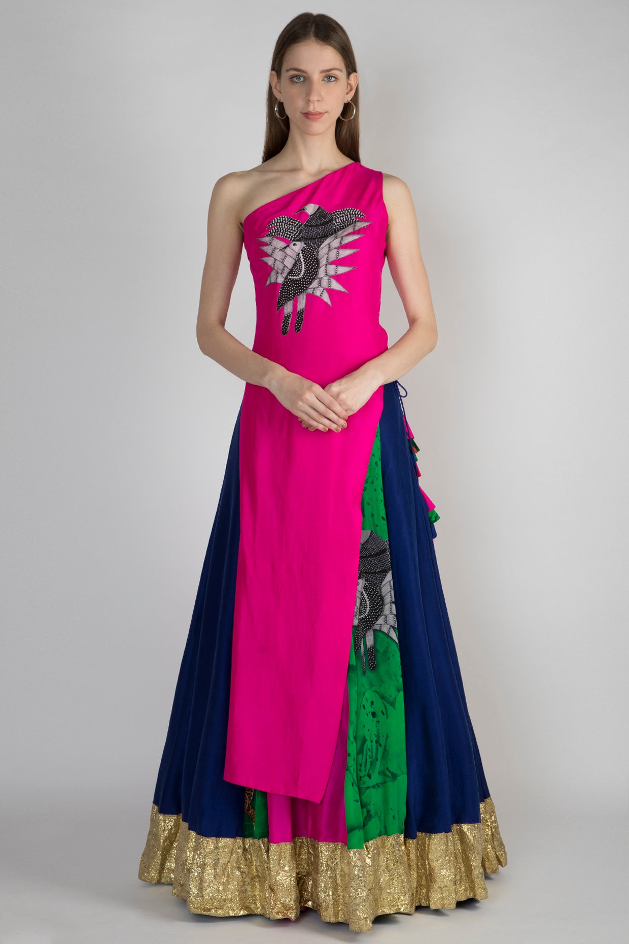 PINK SONGBIRDS APPLIQUE ONE SHOULDER ASYMMETRIC TOP & MULTIPANEL PRINTED LEHENGA WITH DUPATTA - The Grand Trunk
