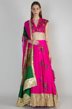 Load image into Gallery viewer, PINK PATCHWORK AND FRAY EMBELLISHED BLOUSE AND CRUSH PINK FOAL APPLIQUE LEHENGA WITH PATCHWORK DUPATTA - The Grand Trunk