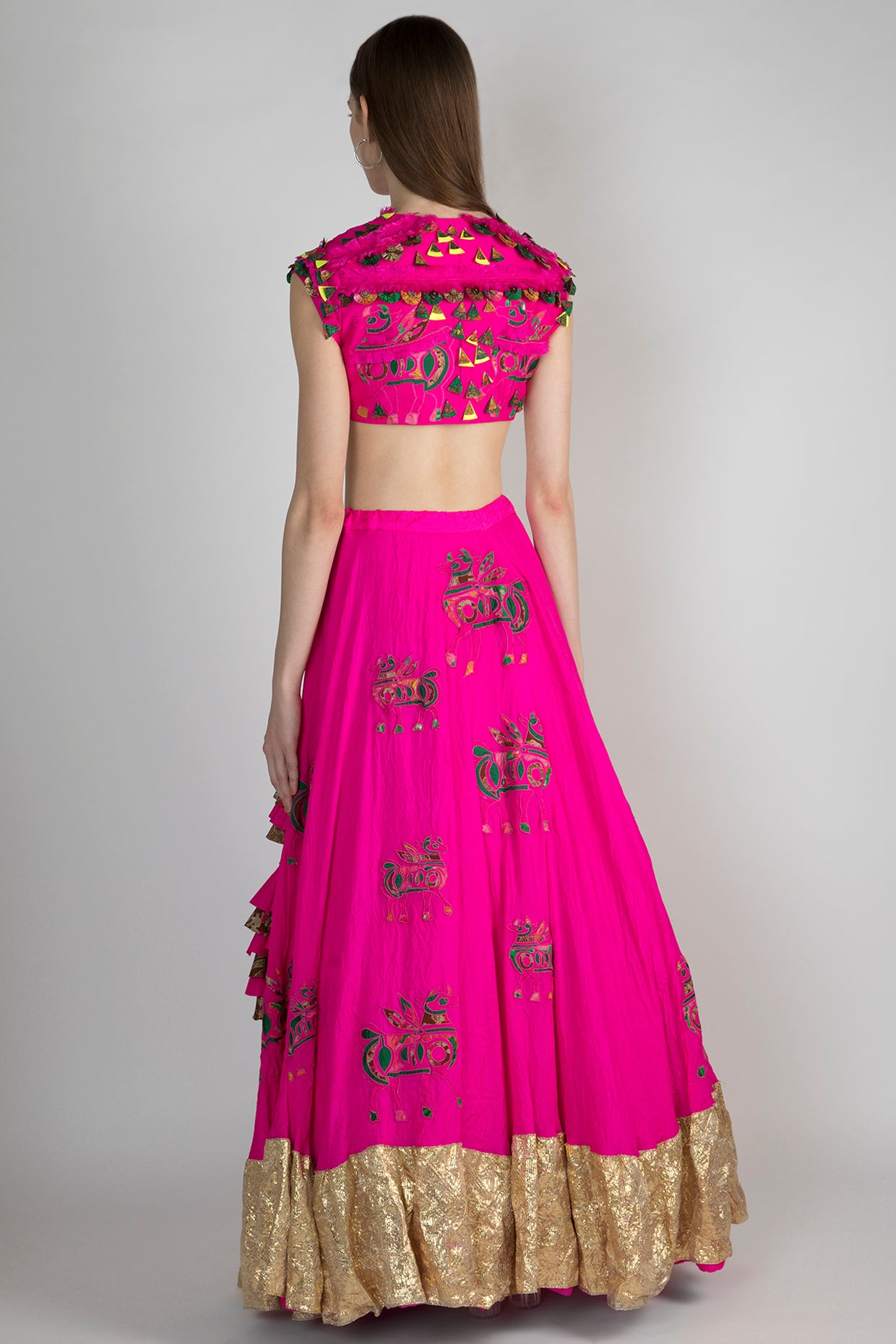 PINK PATCHWORK AND FRAY EMBELLISHED BLOUSE AND CRUSH PINK FOAL APPLIQUE LEHENGA WITH PATCHWORK DUPATTA - The Grand Trunk