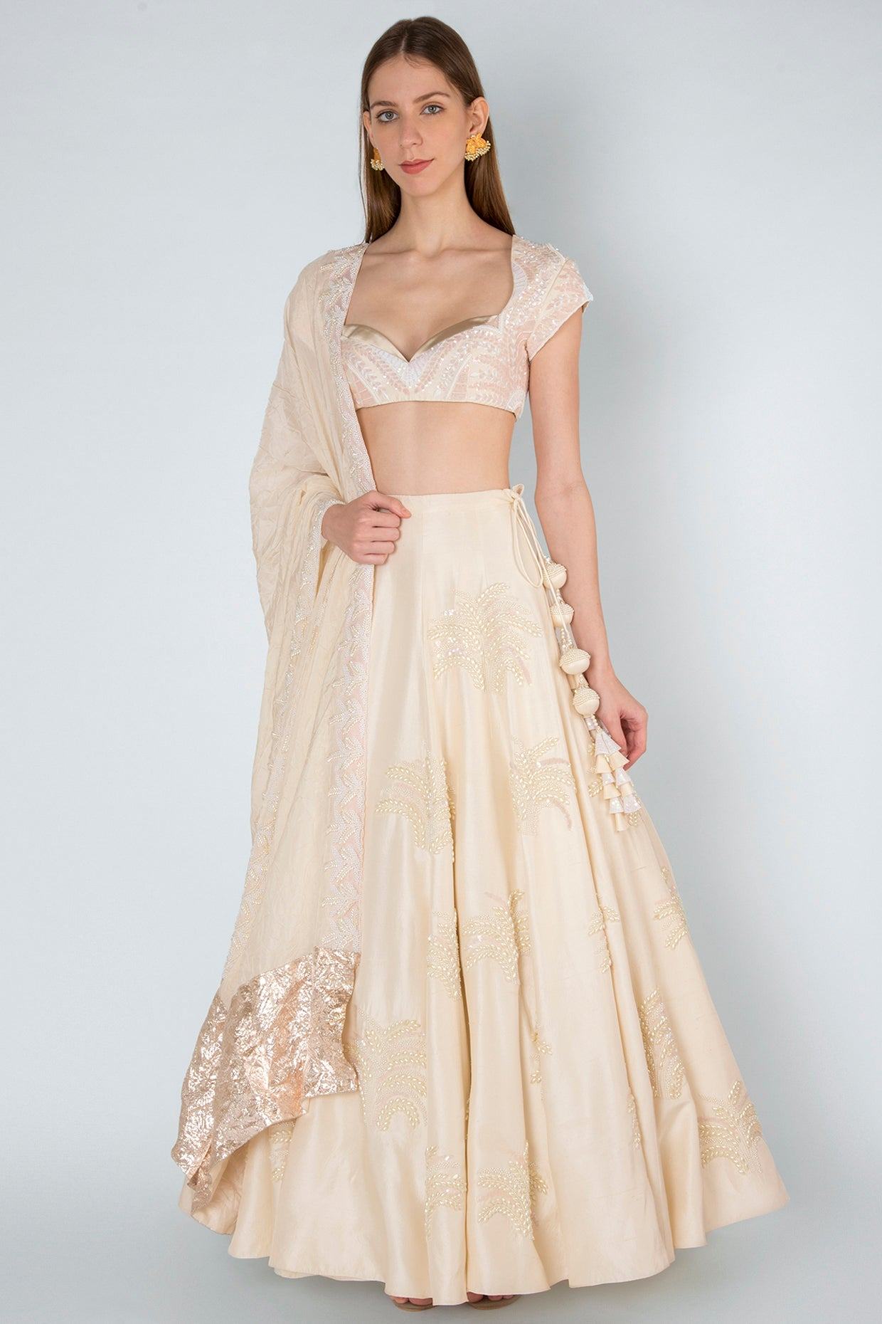 IVORY PEARL EMBROIDERY BLOUSE &LEHENGA WITH IVORY CRUSH DUPATTA - The Grand Trunk