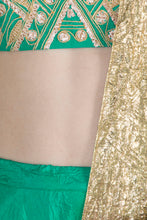 Load image into Gallery viewer, Masaba Gupta Green Crush Lehenga and Dupatta with embroidered blouse - The Grand Trunk