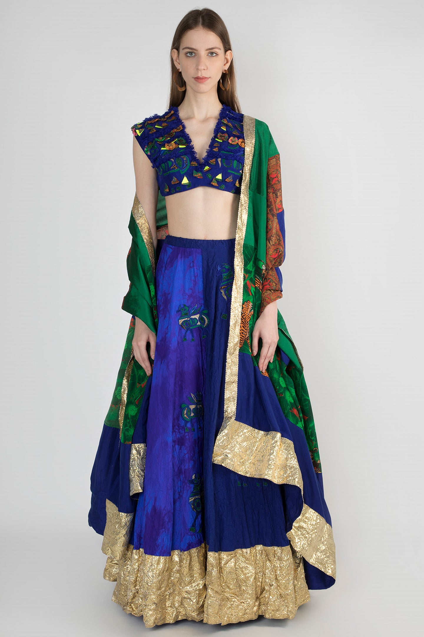 MASABA GUPTA BLUE MIXED MATERIAL & FRAY EMBELLISHED BLOUSE & CRUSH BLUE HALF AND HALF EMBROIDERED LEHENGA WITH PATCHWORK DUPATTA - The Grand Trunk
