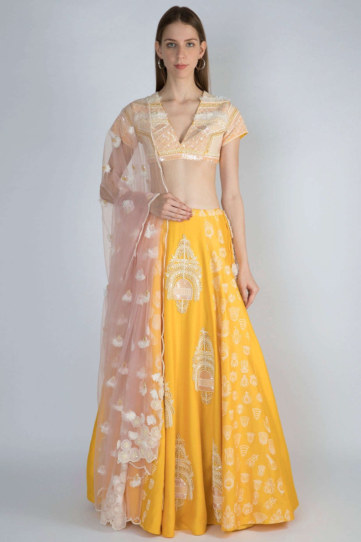 YELLOW EMBROIDERED LEHENGA - The Grand Trunk