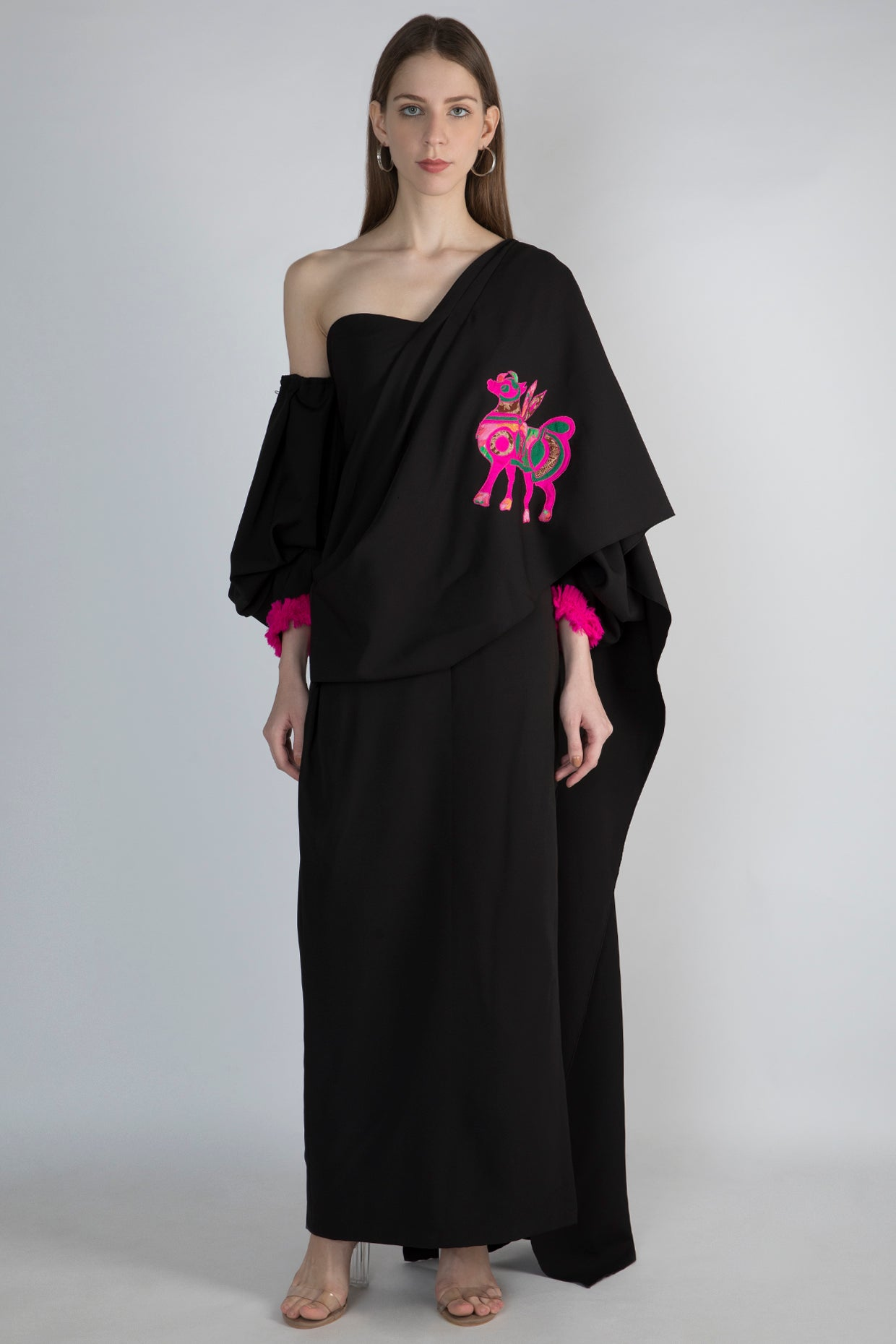 BLACK GOWN SARI WITH FOAL APPLIQUE - The Grand Trunk