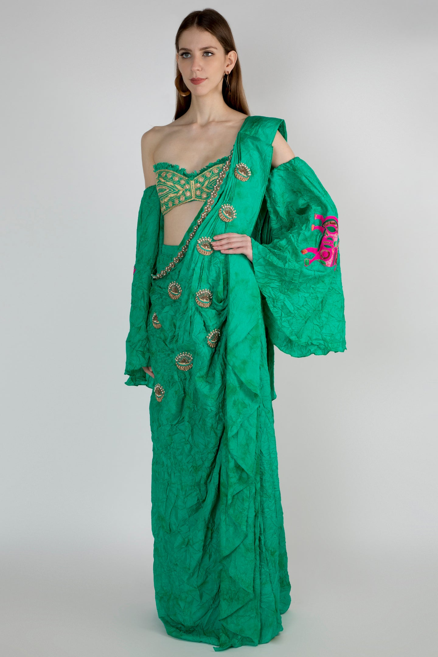 GREEN OMBRE CRUSH SKIRT SARI WITH PLEATED COWL EMBELLISHED PALLA WITH READY BLOUSE - The Grand Trunk