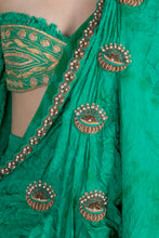Load image into Gallery viewer, GREEN OMBRE CRUSH SKIRT SARI WITH PLEATED COWL EMBELLISHED PALLA WITH READY BLOUSE - The Grand Trunk