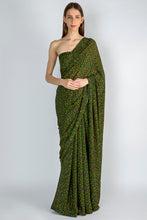 Load image into Gallery viewer, EMERALD FLORAL RUSH SARI & BLOUSE PIECE - The Grand Trunk