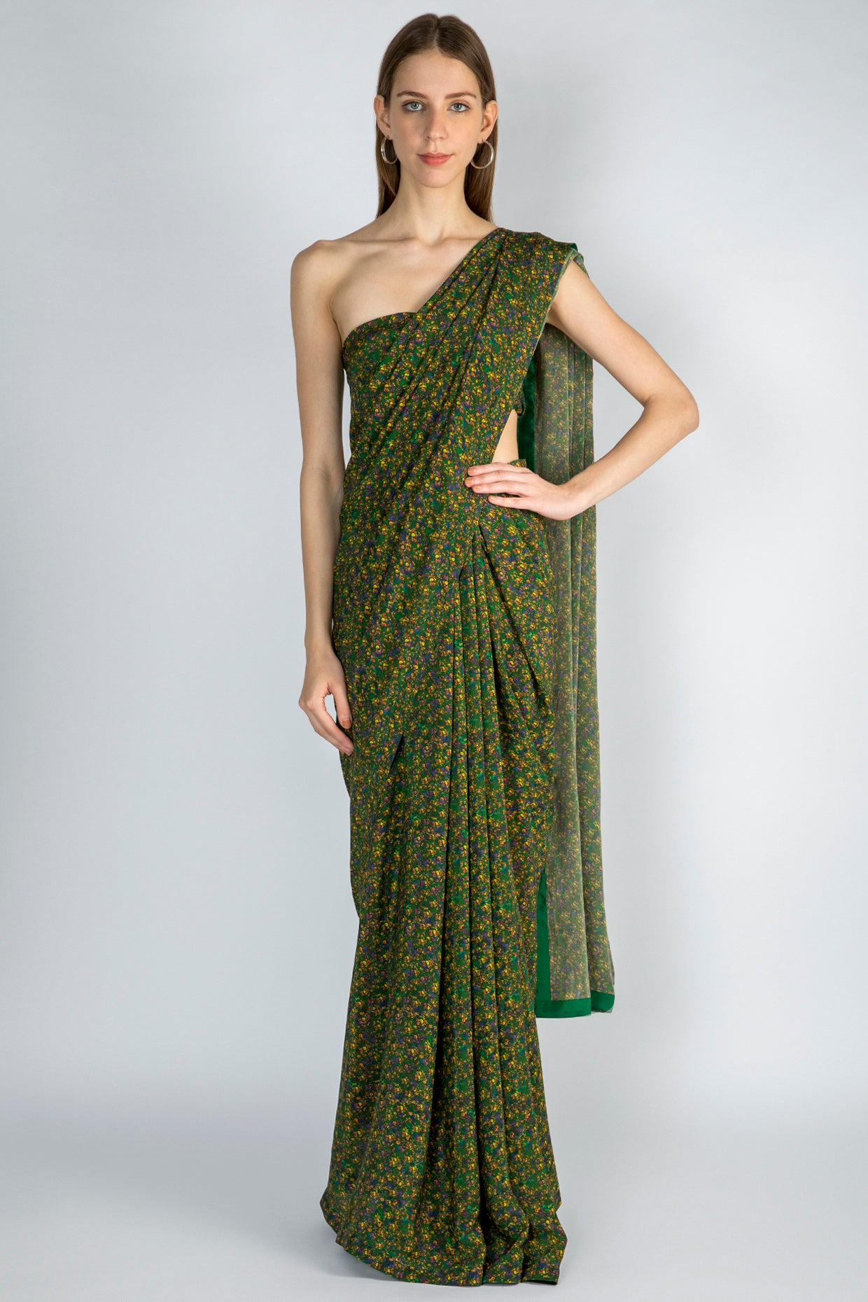 EMERALD FLORAL RUSH SARI & BLOUSE PIECE - The Grand Trunk
