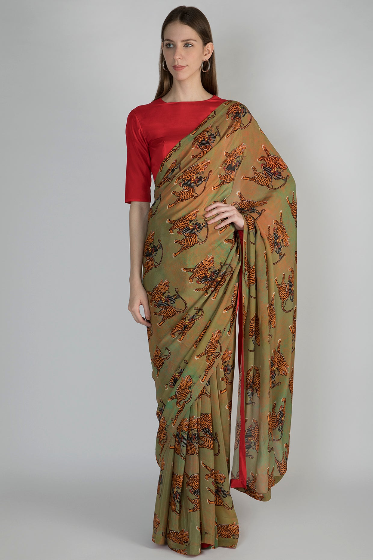 MINT SULTAN PRINT SARI WITH RED BLOUSE PIECE - The Grand Trunk