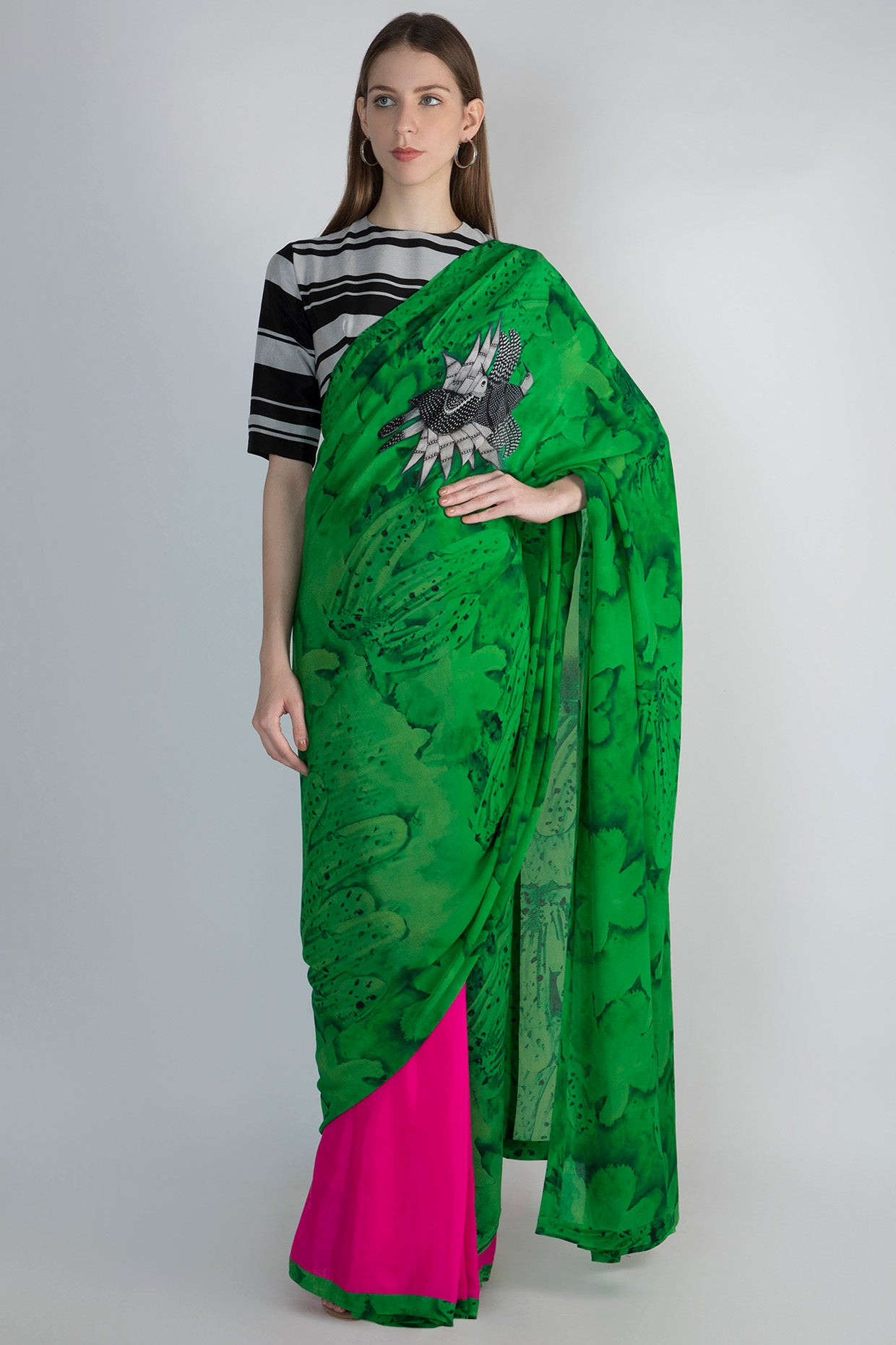 PARROT GREEN SONGBIRDS AND PINK HALF AND HALF SARI WITH BLACK AND WITH STRIPE BLOUSE PIECE - The Grand Trunk