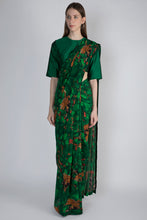 Load image into Gallery viewer, EMERALD JUNGLE SARI WITH EMERALD BLOUSE - The Grand Trunk