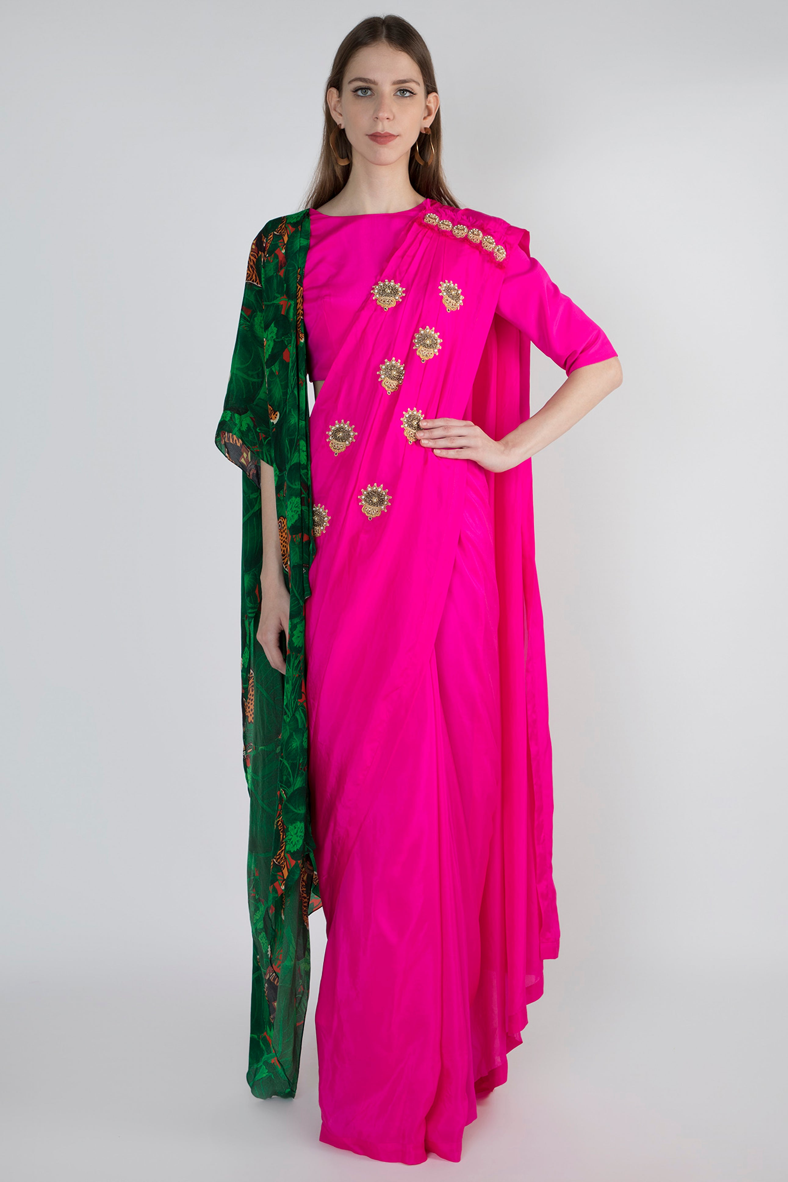 PINK EMBELLISHED AND JUNGLE PRINT DOUBLE PALLA SARI WITH PINK BLOUSE ATTACHED JUNGLE PRINT PRE PLEATED PALLA - The Grand Trunk