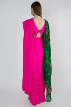 Load image into Gallery viewer, PINK EMBELLISHED AND JUNGLE PRINT DOUBLE PALLA SARI WITH PINK BLOUSE ATTACHED JUNGLE PRINT PRE PLEATED PALLA - The Grand Trunk